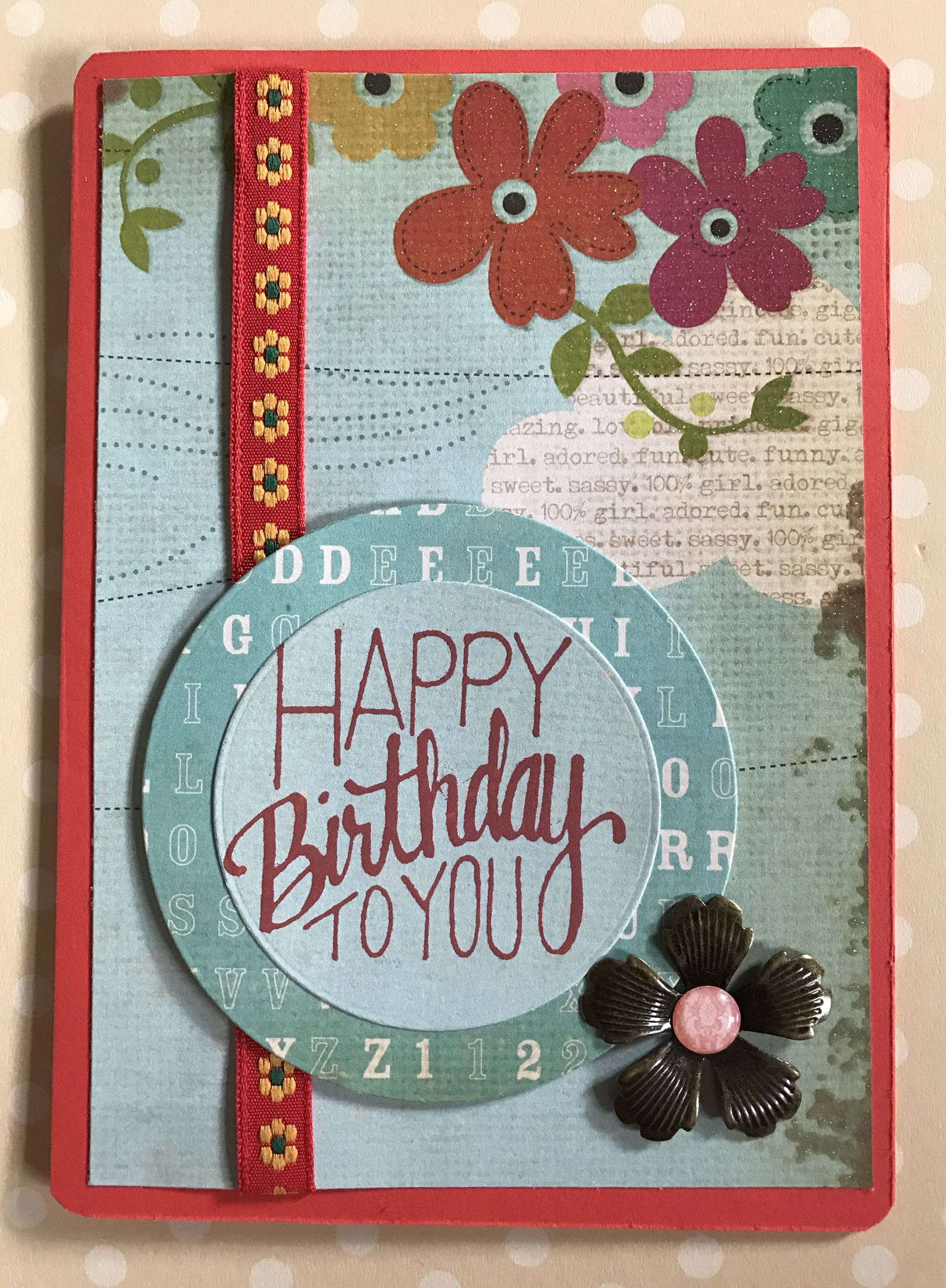 quirky birthday card with ribbon  brass flower