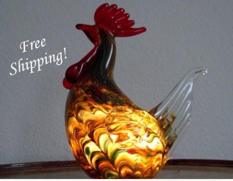 Art Glass Rainbow Rooster