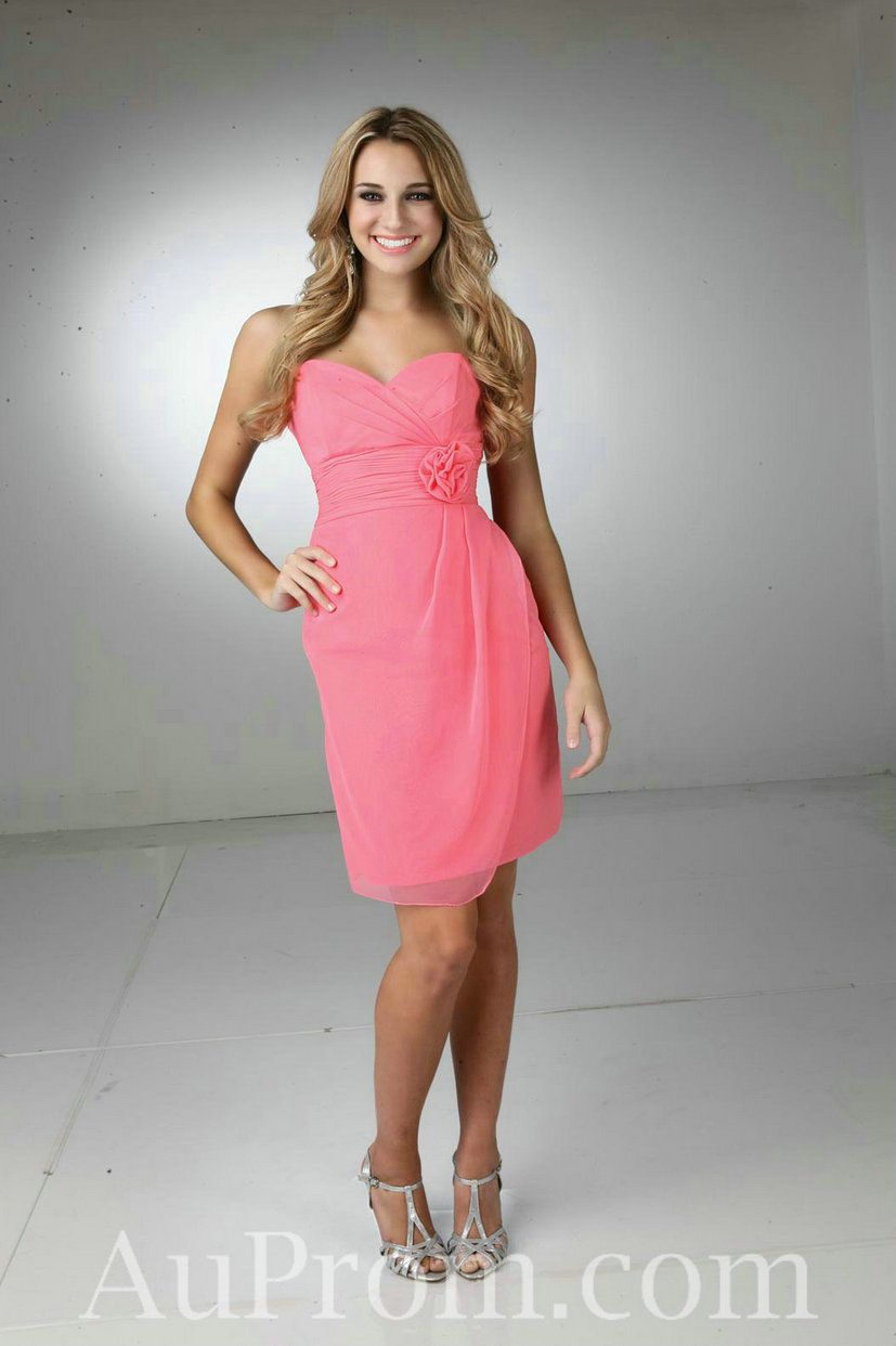 Chiffon strapless coral bridesmaid dresses short with floral sashes