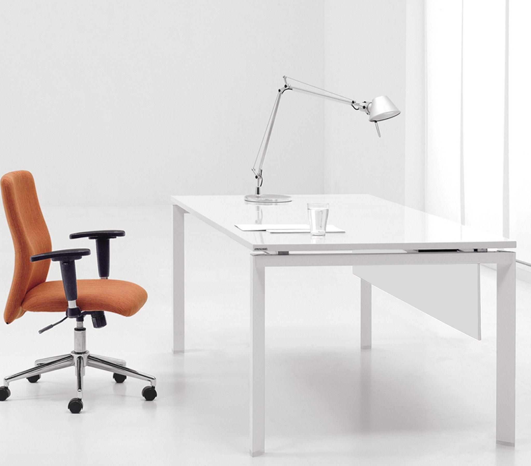 """60"""" Modern White Lacquer Executive Desk"""