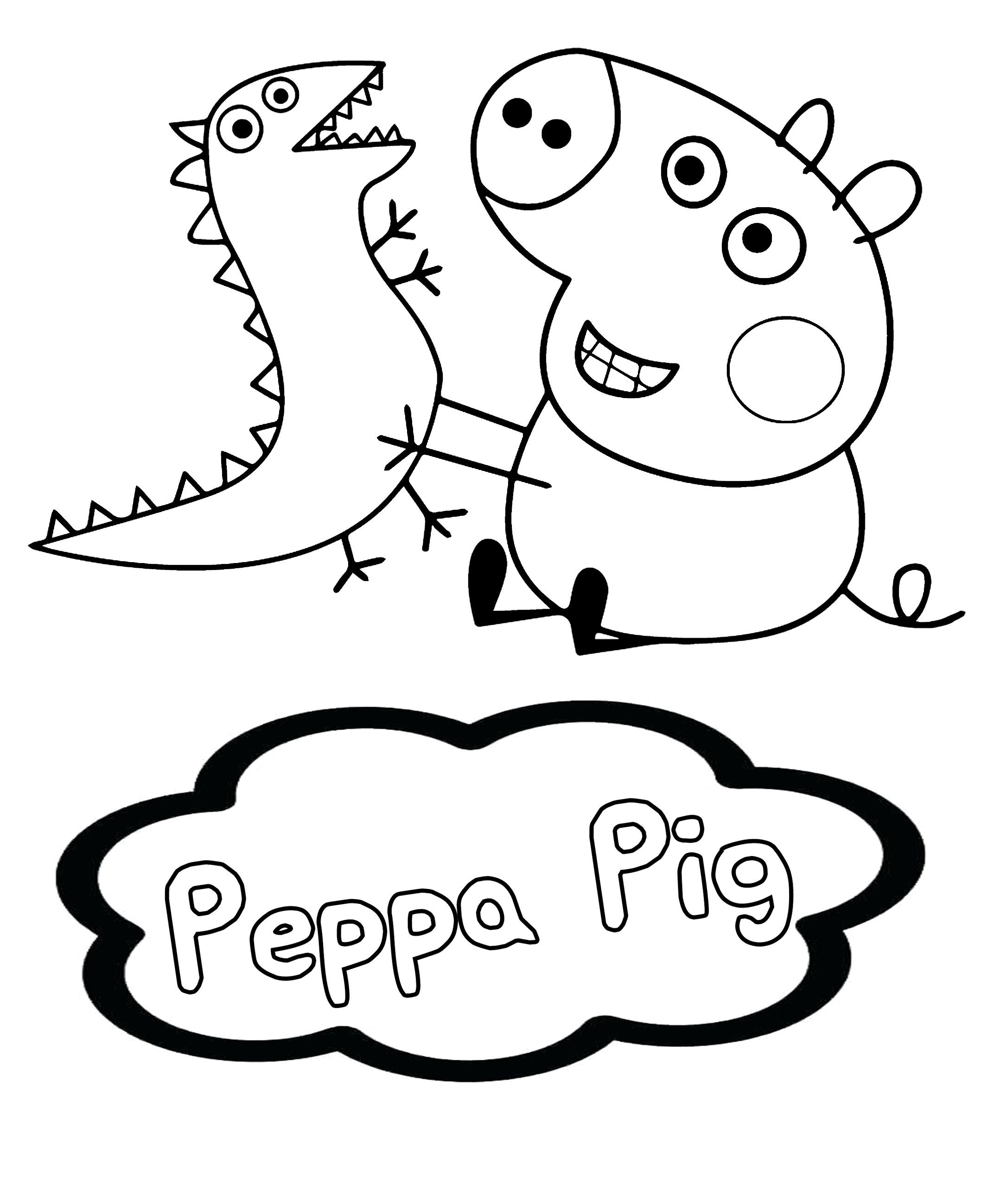 Coloring Dinosaurs Peppa Peppa Pig Pig Trex Coloring Dinosaurs Peppa Peppapig Pig Trex Cartoon Co Peppa Pig Peppa Pig Wallpaper Pig Wallpaper