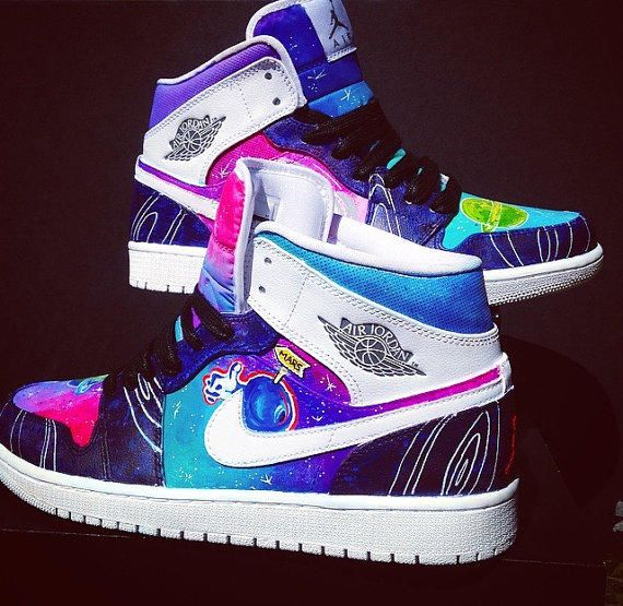 9769ff7adf7 Space Jam Nike Air Jordan 1's Custom Made from OGIllustration on Etsy. Saved  to shoes men/women.