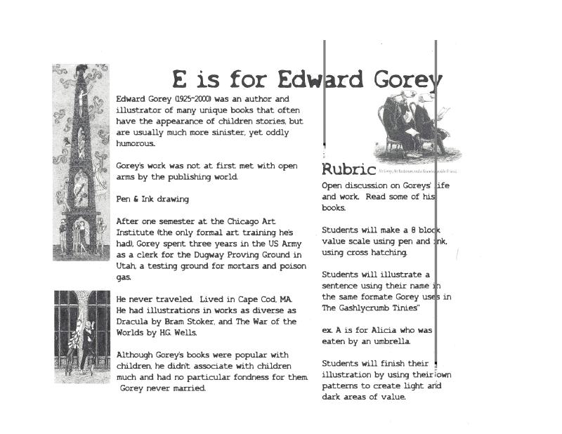 Edward Gorey Lesson Plan Pdf Edward Gorey Art Lessons Middle School Art Education High School