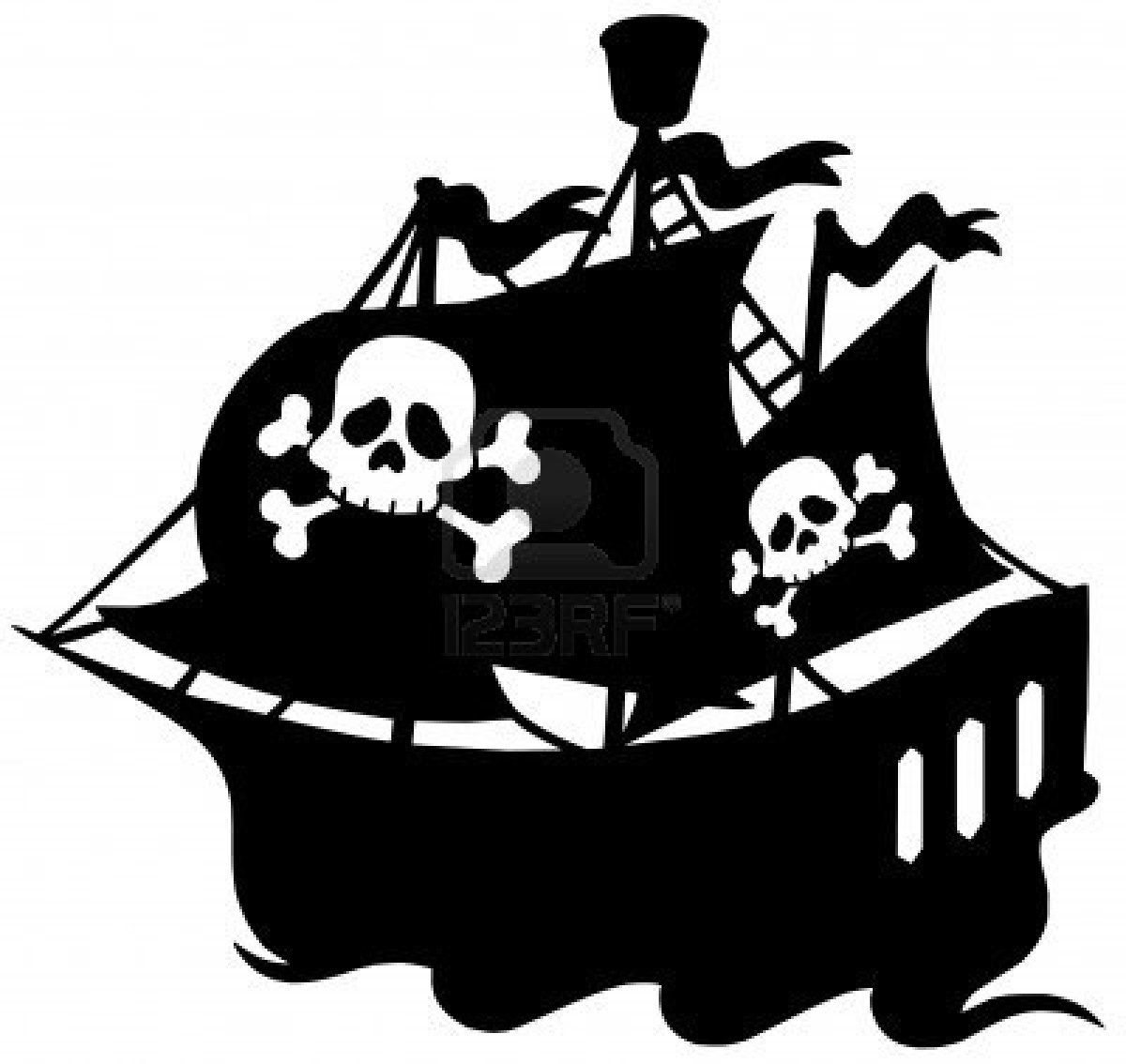 Pirate ship silhouette vector illustration royalty free cliparts