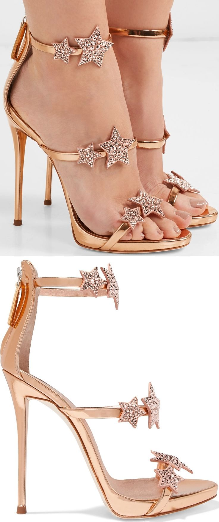 The Slim Straps On These Rose Gold Coline Sandals Are Decorated With Crystal Embellished Suede Star Appliques Although Heels Casual Shoes Women Fancy Shoes