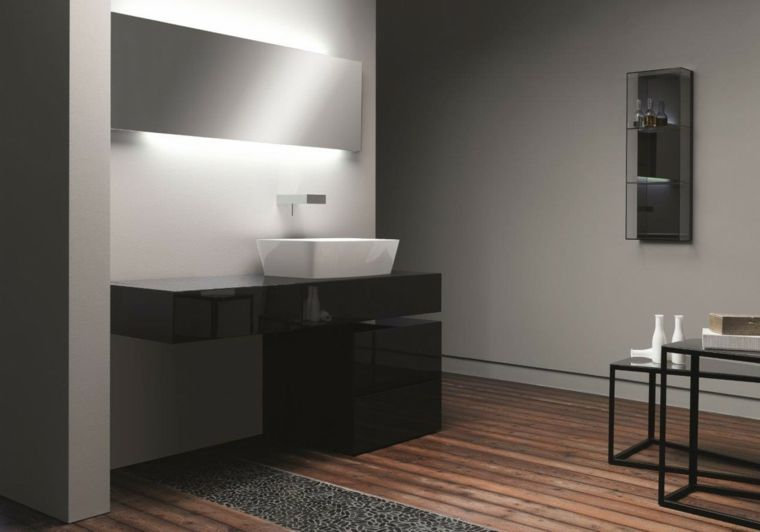 Idee rivestimento bagno, pareti grigie, mobile laccato di colore ...