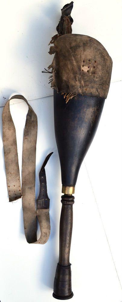 18thc Georgian Wooden Prosthetic Peg Leg Cornwall Navypirate Long