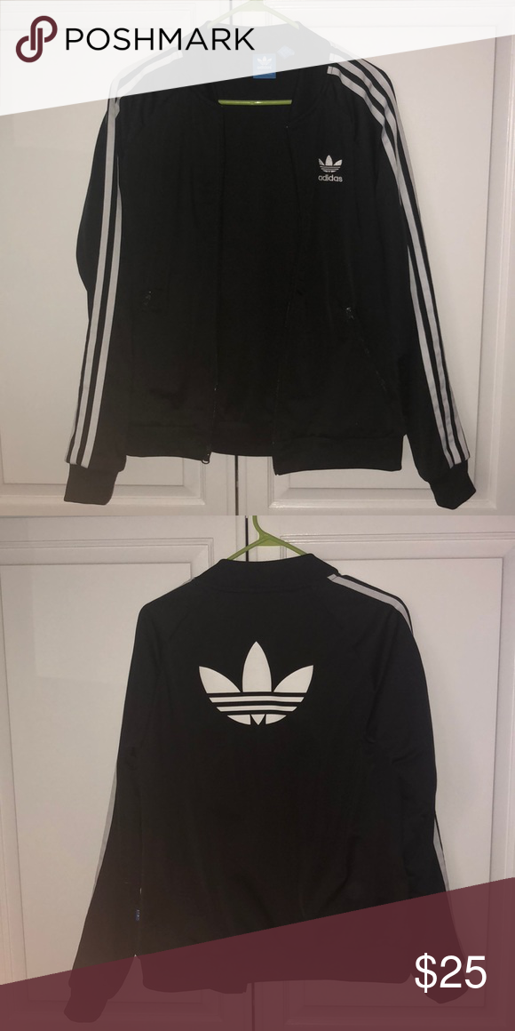 70797668e adidas tracksuit jacket adidas tracksuit zip-up jacket with the trefoil on  the back and stripes down the arms adidas Jackets & Coats Utility Jackets