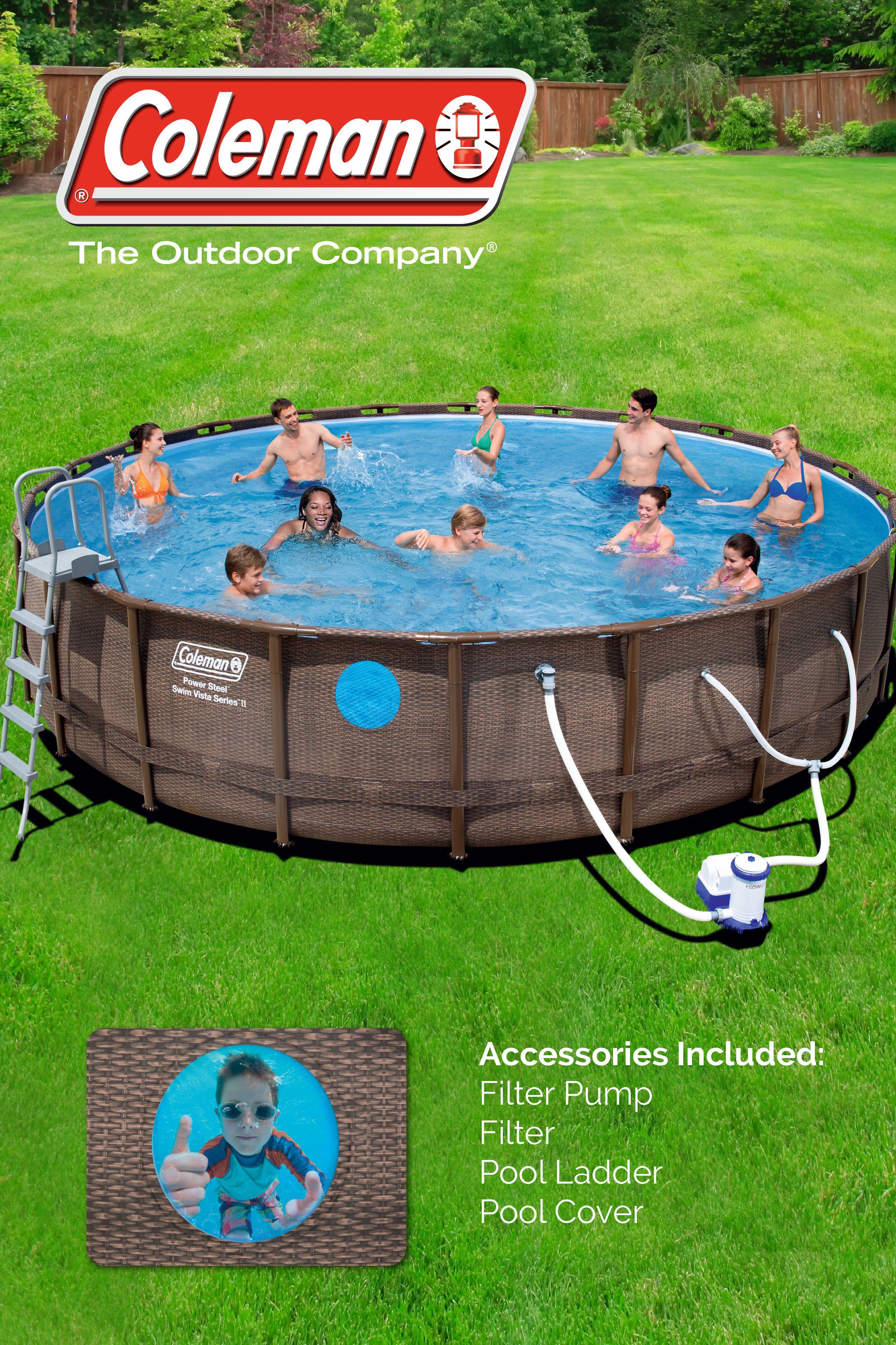 Coleman 22 X52 Power Steel Swim Vista Ii Round Swimming Pool Set Walmart Com Pool Swimming Pool Designs Swimming Pools
