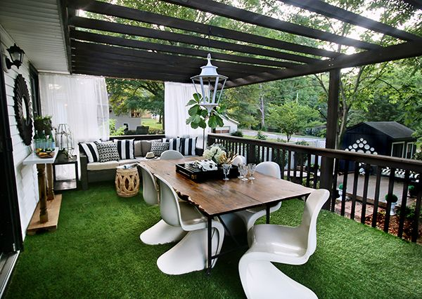 Artificial Grass   Cohesion With The Black And White Themed Floating Deck  In The Backyard