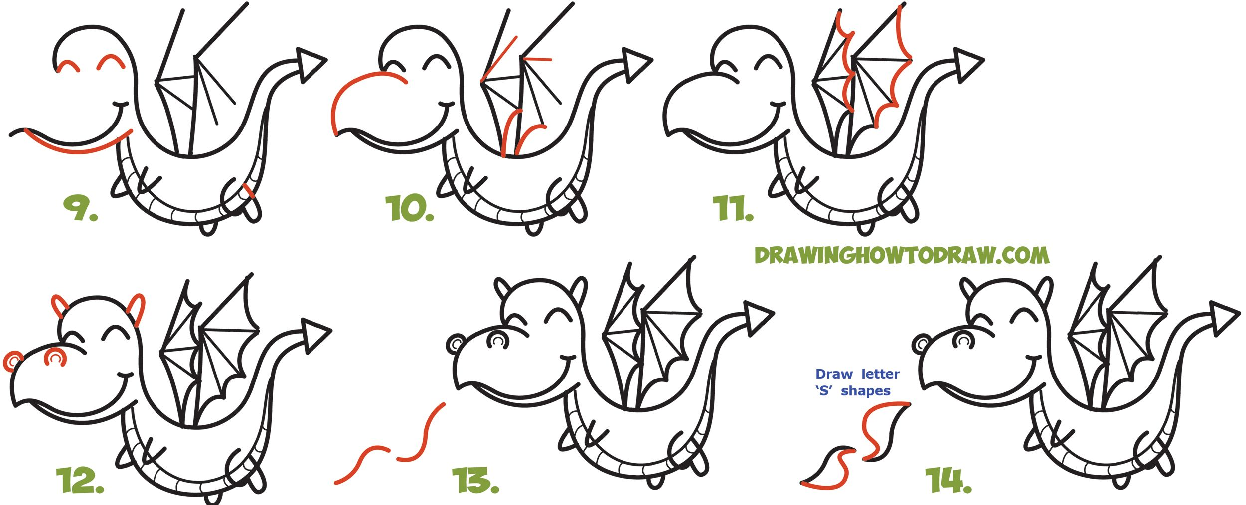 a28d021099455 How to Draw a Cute Kawaii / Chibi Dragon Shooting Fire with Easy Step by Step  Drawing Tutorial for Kids and Beginners
