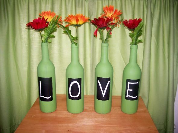Wine Bottle Decor For Candy Bar : Wedding Diy Flowers Green Inspiration  Ivory Orange Reception Red