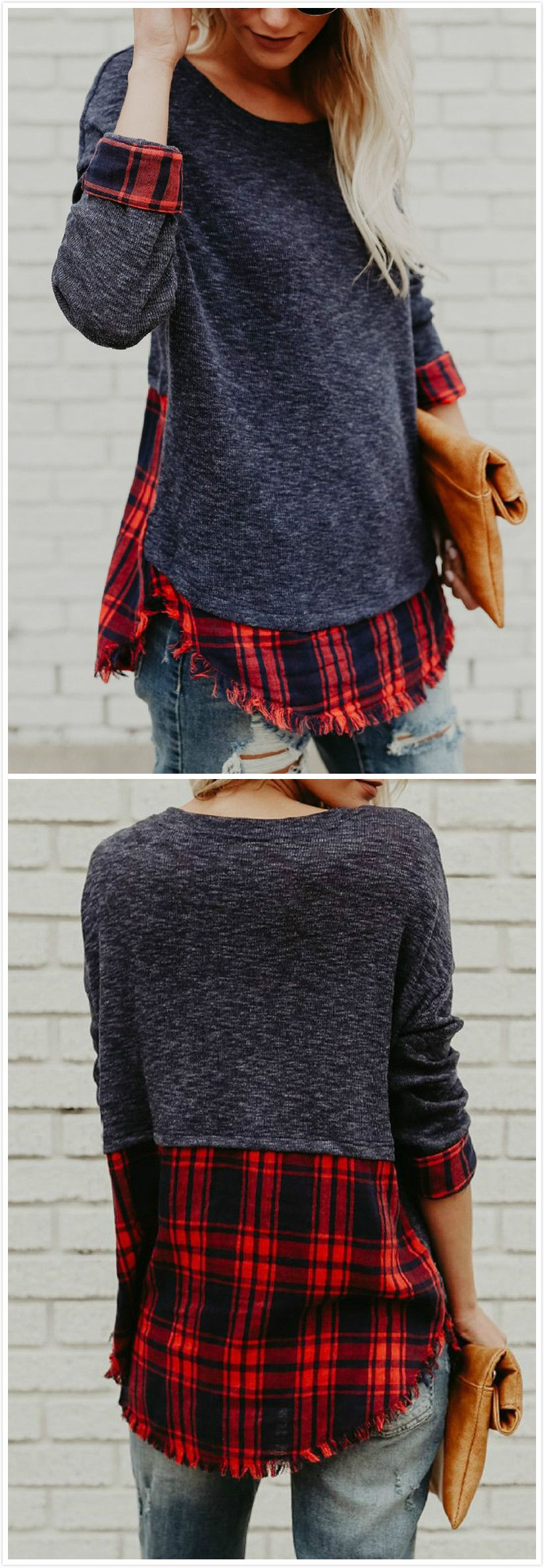 Flannel t shirts  Round Neck Long Sleeve Plaid Panel Knit Tee Shirt  Repurpose