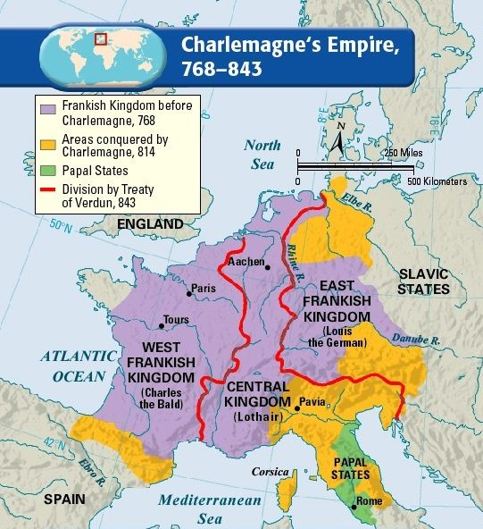 Charlemagne\\\'s Empire Map Map of Charlemagne's empire, 768 843. Charlemagne, a.k.a Charles