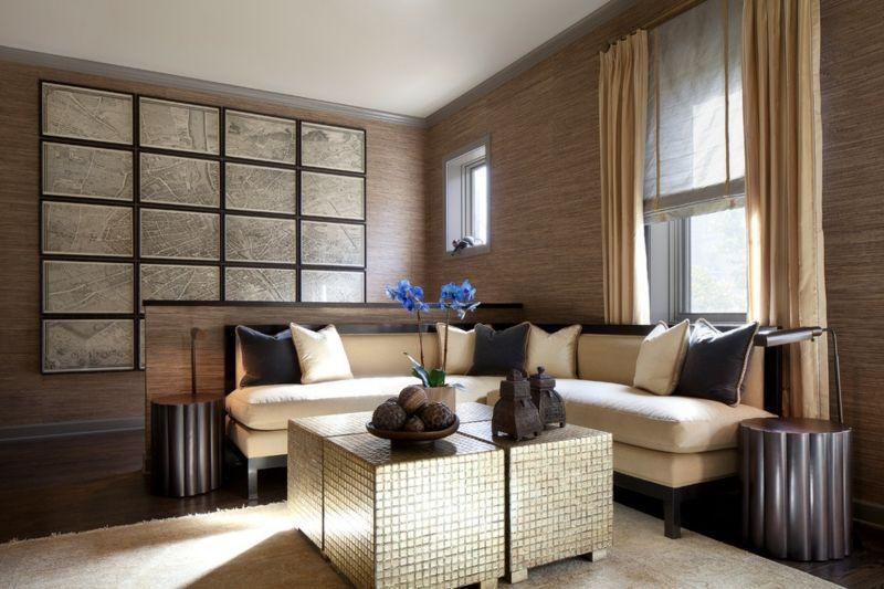 Wandgestaltung In Braun U2013 50 Wohnzimmer Wohnideen   Dekoration Gram