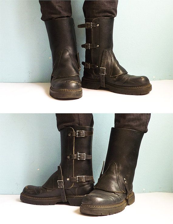 Black Leather Army Spats Gaiters Steampunk By EuroVintage On Etsy EUR3900