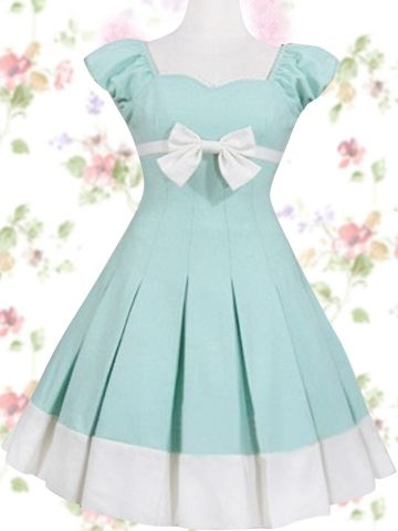 $66.99  Adorable Mint Cotton Sleeveless Ribbon Bow Sweet Lolita Dress #sweet #dress #lolita