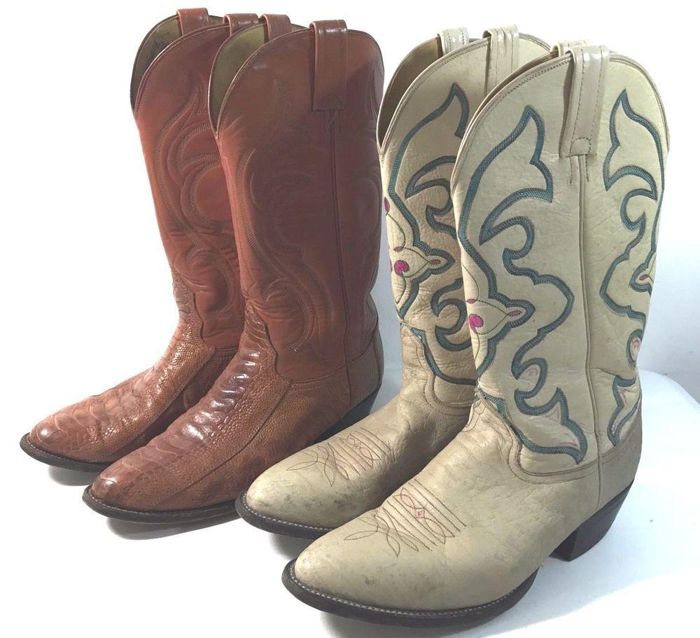 3a68d9eb848 Details about Dan Post Men's Tan Brown Boots Size 9 1/2 D 9.5 Cowboy ...