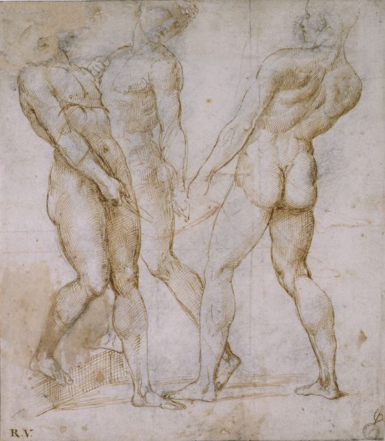 Raphael (Raffaello Sanzio), 1483-1520, Italian, Studies for Figures in an Entombment, 1506-07.  Pen and brown ink over grey chalk outlines with red chalk on white paper, 28.2 x 24.6 cm.  Ashmolean Museum at the University of Oxford, UK.  High Renaissance.