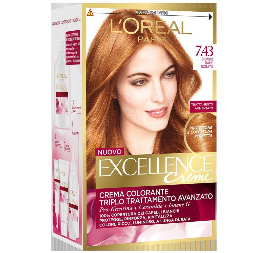 L Oreal Excellence Cream n. 7.43 biondo rame dorato ...