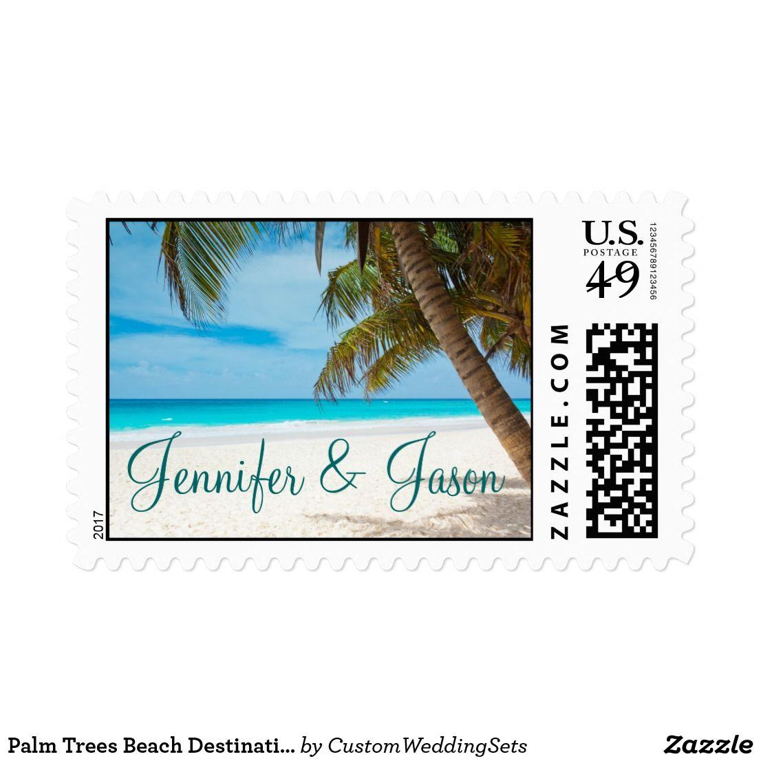 Palm Trees Beach Destination Wedding Postage Stamp   Palms, Trees ...