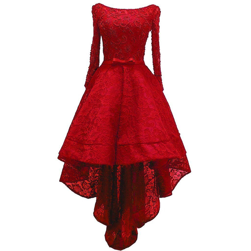 Amazon Com Lemai Beaded Lace High Low Long Sleeves Formal Prom Homecoming Co Red Homecoming Dresses Prom Dresses Long With Sleeves Long Sleeve Prom Dress Lace [ 1024 x 1024 Pixel ]