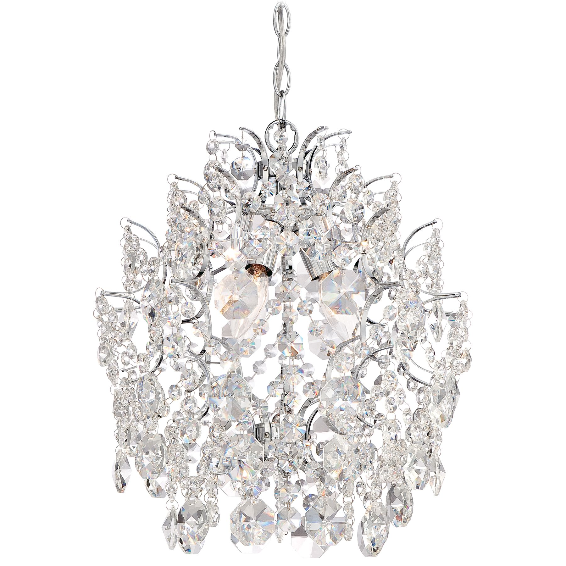 light mini chandelier in chrome finish master bath in