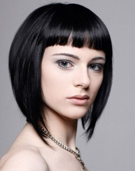Baby Bangs And Asymmetrical Bob Hair Style Black Hair Hair Style