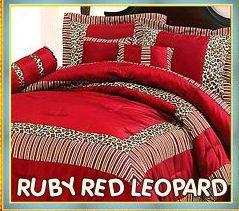 red+bedding | red leopard print bedding comforter set animal wild ...