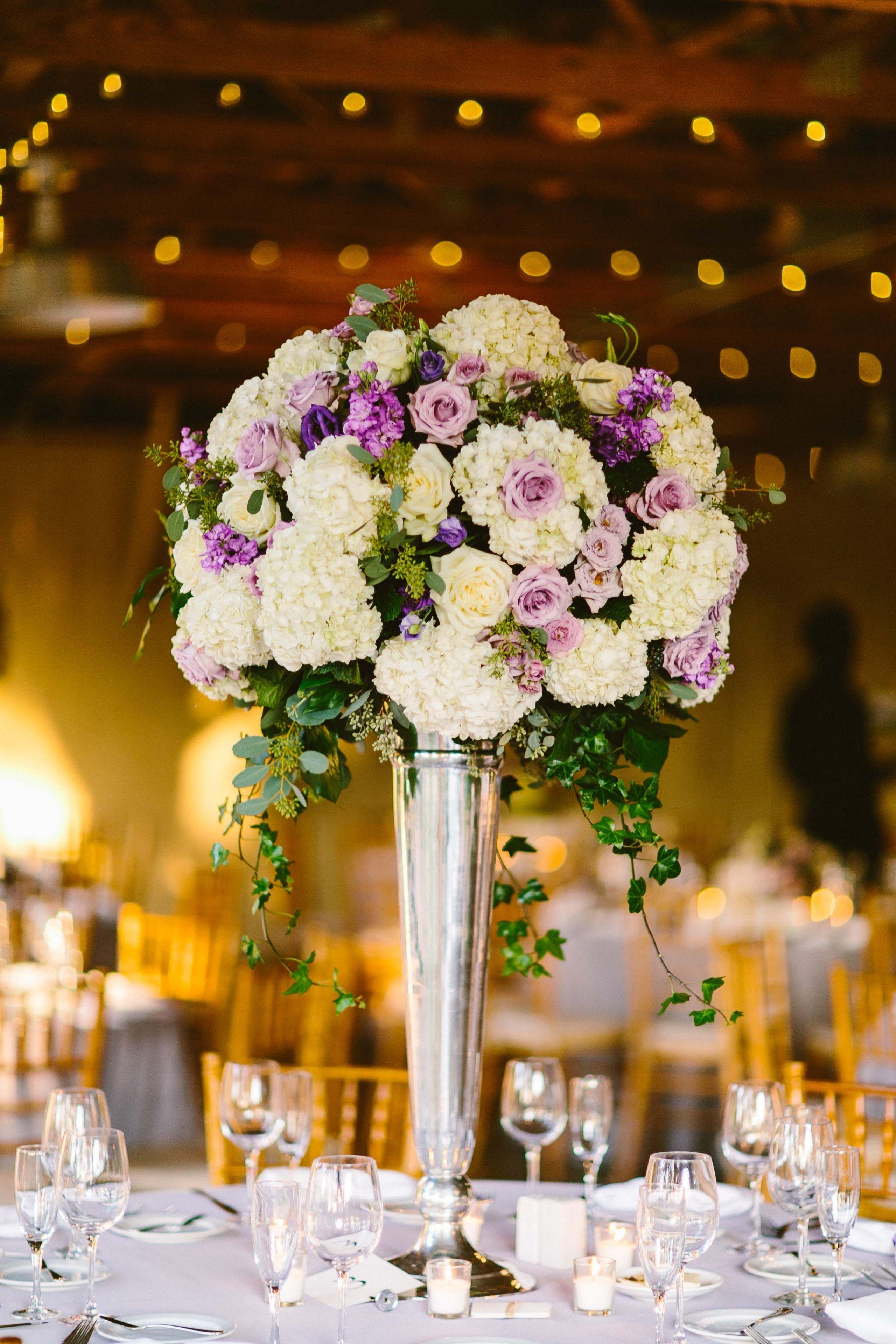 Wedding decoration ideas purple  Purple Rose Gold Wedding Centerpiece Ideas  ivory wedding
