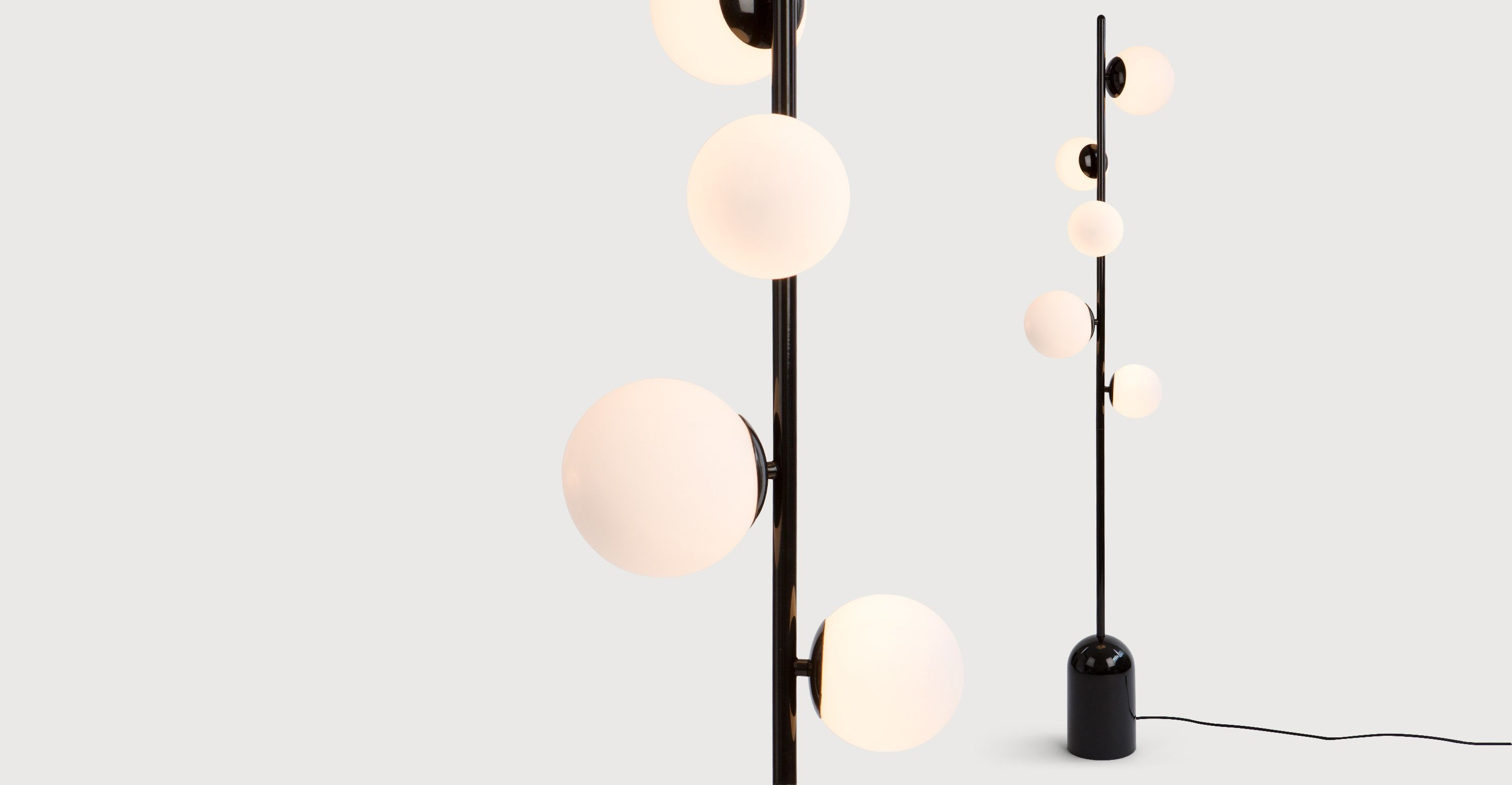 Vetro Floor Lamp Black And Opal Glass Stehlampe Stehlampe