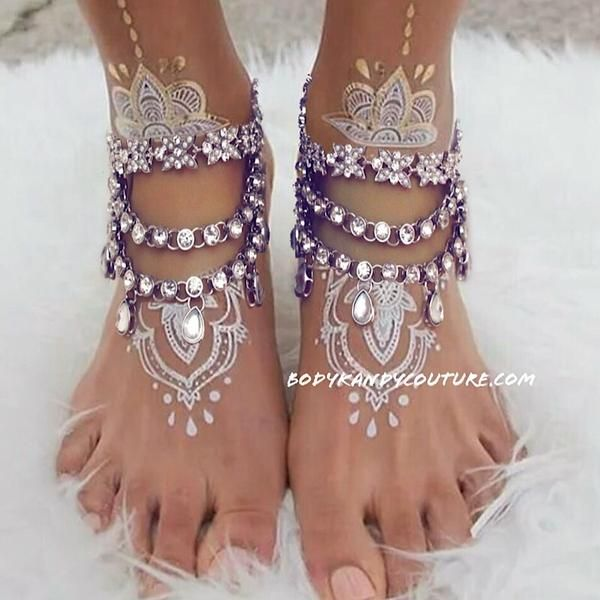 Tempest Pearl and Rhinestone Anklets Beach Wedding Foot Jewelry
