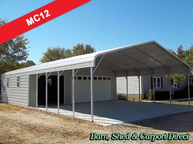 Carports With Storage Are Just As Easy For Us To Design As Our Garage Carport Combo Units Descriptio Carport Sheds Metal Farm Buildings Carport With Storage