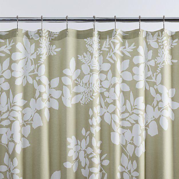 marimekko kukkula green shower curtain - crate and barrel | crate