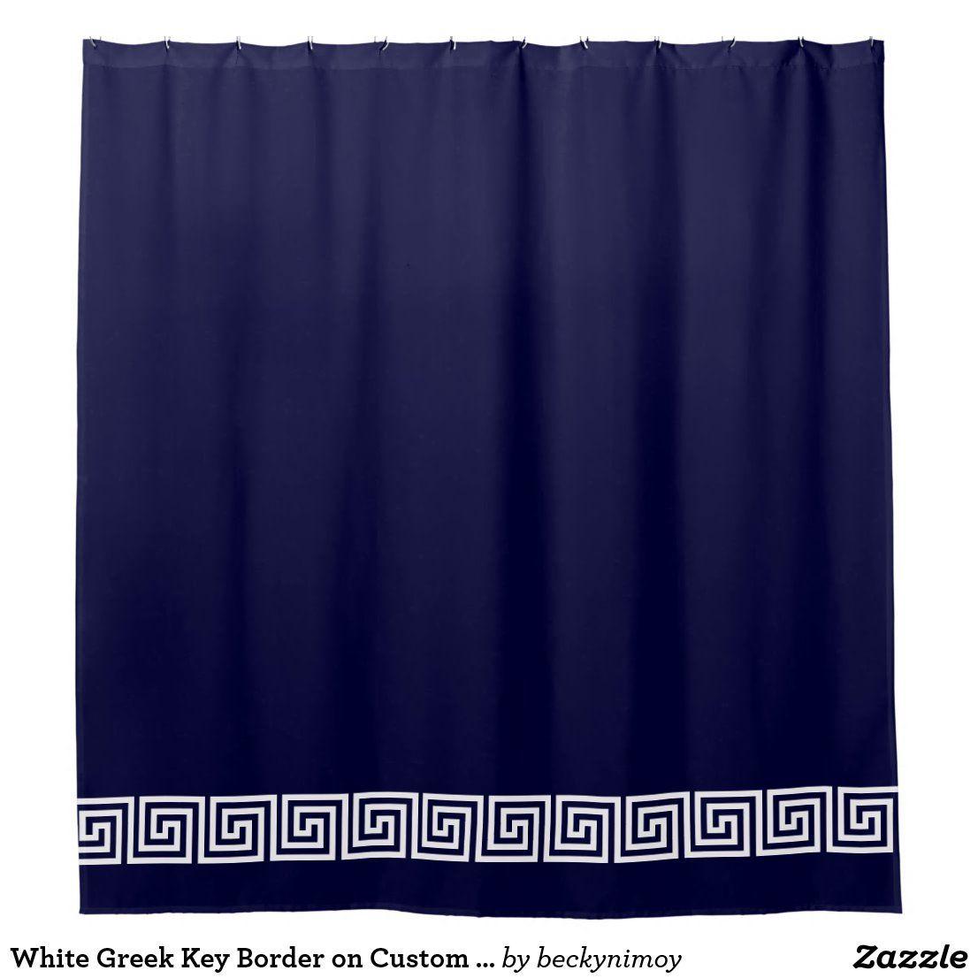 White Greek Key Border On Custom Color Navy Blue Shower Curtain