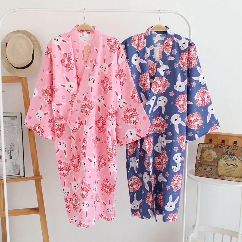 Cotton Bathrobes Summer Cotton Robes for Women Cotton Kimono Robes Floral  Spa Robe Women Pajamas Japanese 8a7192ce4