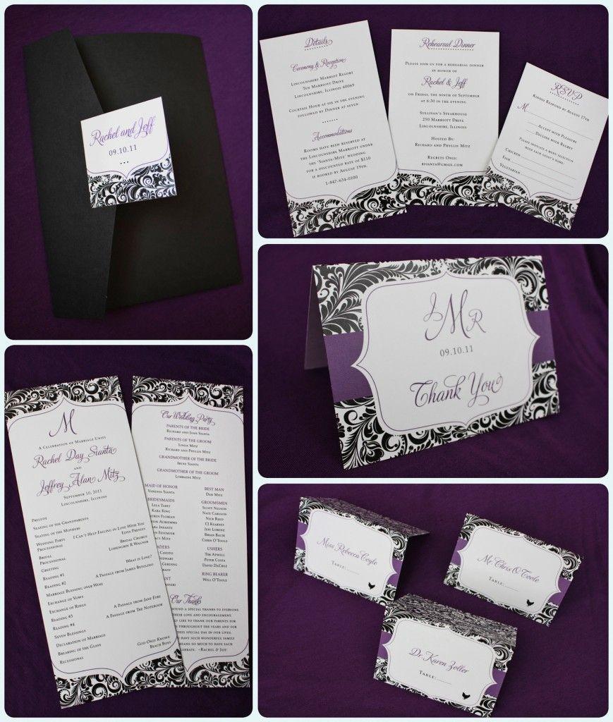 Sams Club Wedding Invitations: Purple And Black Floral Damask With Fun Shape Pocketfold