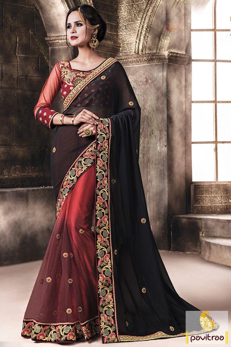 0c20c31b4e Designer Collection Georgette Net Maroon Black Saree | Wedding ...