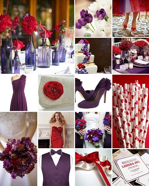 Red Purple White Royal Romantic Red Purple Wedding Red