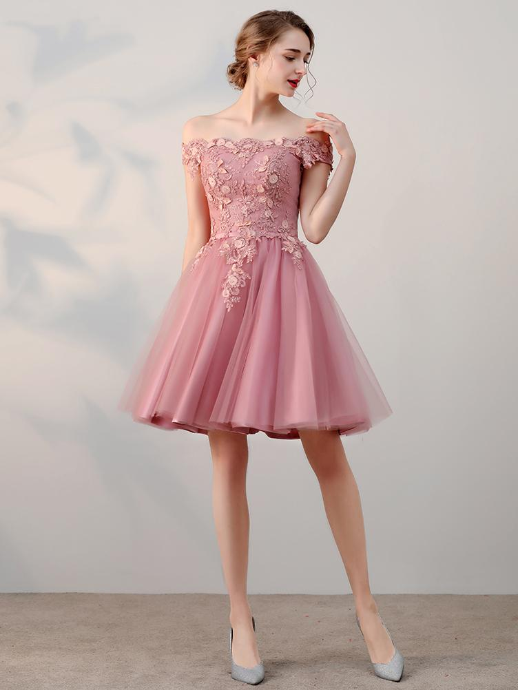 68952b472f2a1 Chic A-line Off-the-shoulder Tulle Pink Charming Short Prom Dress ...