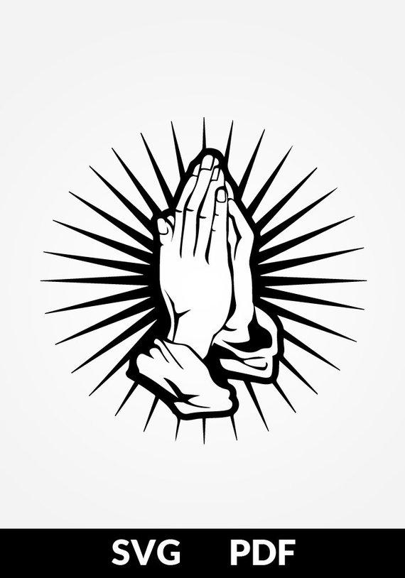svg pdf cut file paper cutting template prayer praying hands