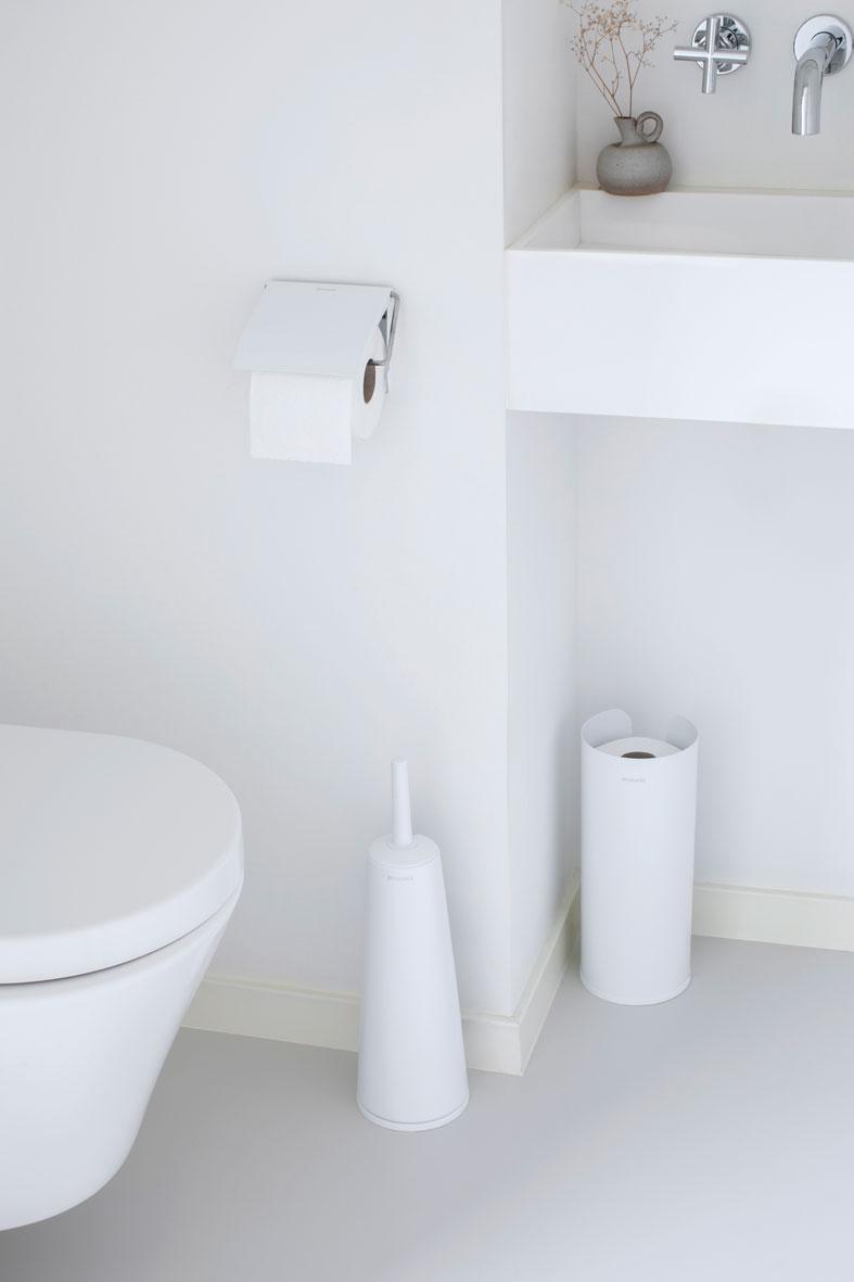 Toilet Roll Holder Renew White In 2020 Brabantia Toilet Accessories Toilet Roll Holder