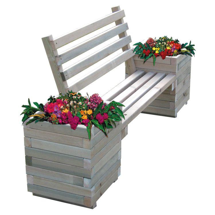 doublet banc public en bois avec 2 jardini res de fleurs de chaque c t jardini re bacs a. Black Bedroom Furniture Sets. Home Design Ideas