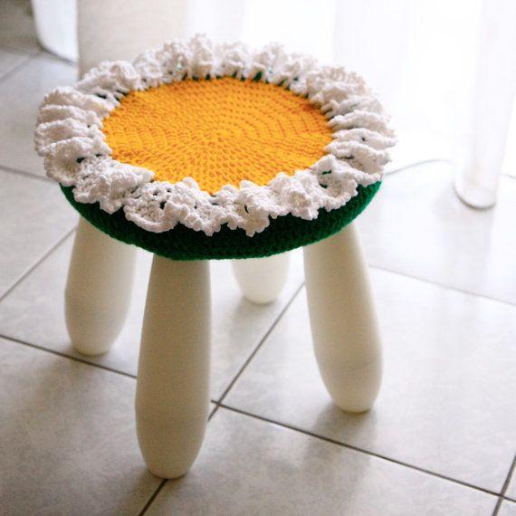 Nursery decor crochet stool cover, Rita, white flower for IKEA ...