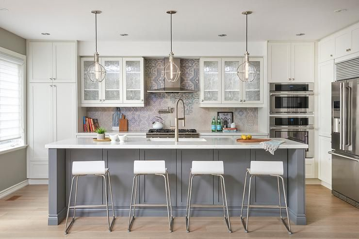 Welcoming Off White And Gray Kitchen Features Four White Low Back Bar Stools Plac Wood Floor Kitchen Stools For Kitchen Island Kitchen Island Stools With Backs