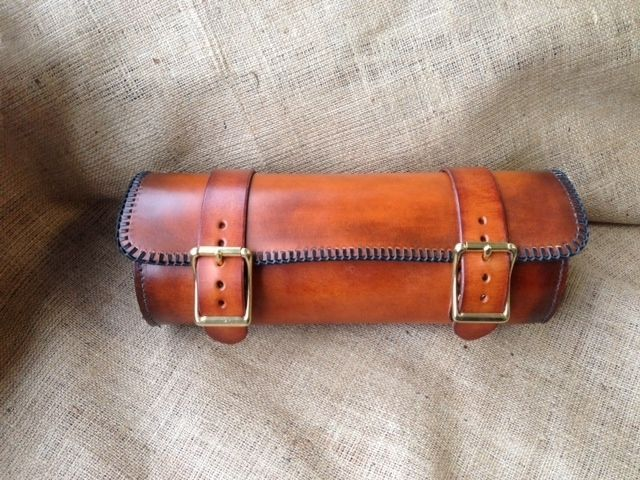 Custom Made Leather Motorcycle Roll Bag