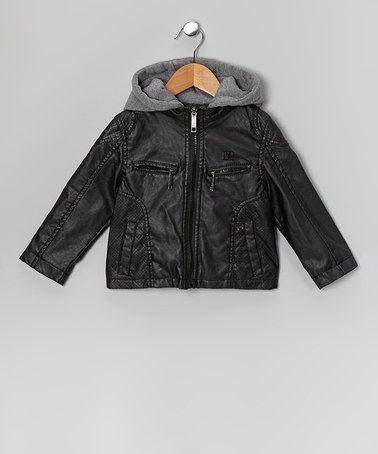 Urban Republic Black Faux Leather Hooded Jacket - Boys | My boys ...