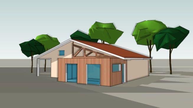 Extension ossature bois d\u0027une maison Landaise en Gironde/Wood frame