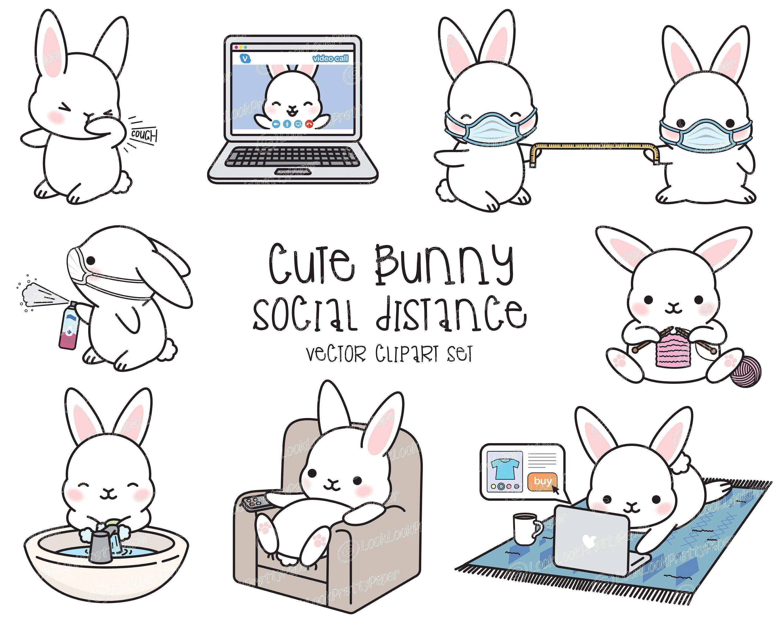 Premium Vector Clipart Kawaii Bunny Cute Bunny Social Distancing Clipart Bunnies Lockdown Instant Download Kawaii Clipart In 2021 Kawaii Clipart Kawaii Bunny Cute Bunny