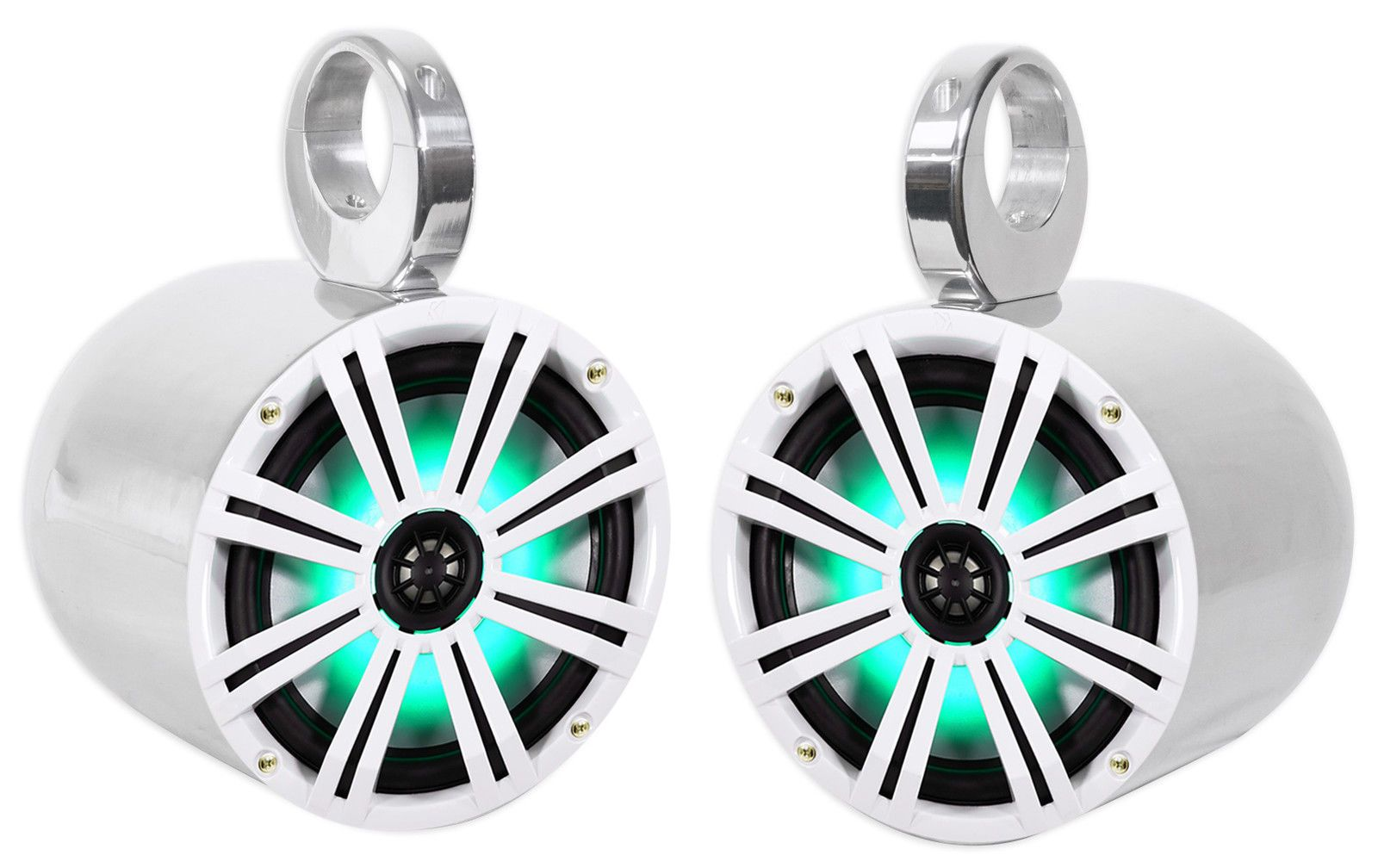 "2 KICKER 45KM84L 8/"" 600 Watt Marine Boat Wakeboard Tower Speakers w//LED/'s KM8"